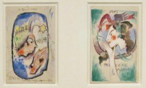 Campendonk, Postkarten, Aquarell um 1912, Museum Penzberg, Blauer Reiter